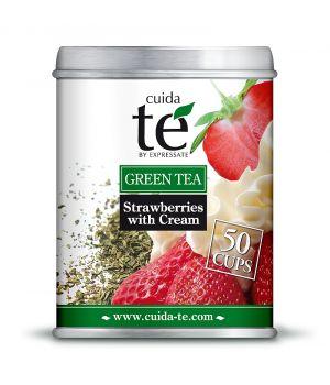 Sypaný zelený čaj Jahody a smotana, Cuida Té 100 g