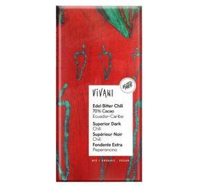 Vivani Horká čokoláda s CHILLI BIO vegan - 100 g