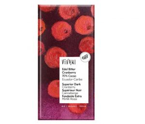 Vivani Horká čokoláda s kúskami brusníc BIO vegan - 100 g