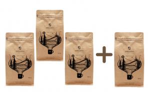 Degustačný balíček nášho pražiace 3 + 1 ZADARMO - Zrnková káva 100% Arabica